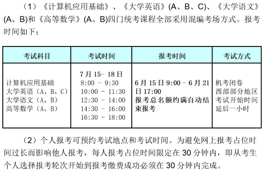 2021年7月网络教育统考时间及考试科目